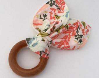 Natural Wooden Teething Ring in Wild Posy
