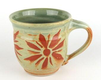 Stoneware Mug - 14 oz. - Coffee Cup - Latte Mug - Tea Cup - Sage Green - Terracotta / Handmade wheel thrown pottery