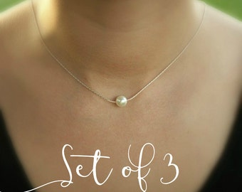 Bridesmaid necklace set of 3 pearl necklaces Floating solitaire pearl Single pearl thin sterling silver chain Bridesmaid jewelry set of 3