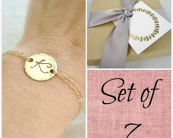 Bridesmaids bracelets, silver or gold initial bracelet, custom set of SEVEN personalized bracelets, bridesmaid gift, large monogram bracelet