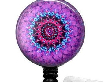 Purple Mandala Glass Dome Retractable ID Badge Reel, Name Badge Holder 281