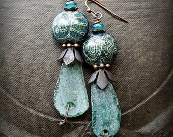 Ancient Roman Glass, Lampwork Glass, Czech Glass, Earthy, Ethereal, Primitive, Organic, Rustic, Copper, Beaded Earrings