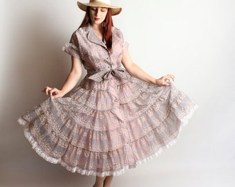 Vintage 1950s Dress - Sheer Lavender Bow Print & Floral Pink Sweet Country Girl Dress - Medium Large