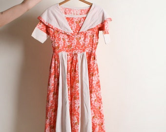 Vintage 1950s Dress - Bright Peach Floral Novelty Print Cotton Dress - XS xxs