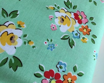 SALE Backyard Roses fabric, Backyard Roses Main in Green fabric, Discount fabric, Riley Blake Fabrics, Fabric by the yard, Choose your cut