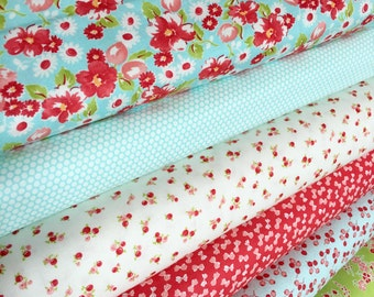 Little Ruby by Bonnie and Camille for Moda fabrics, Small Print fabric, Quilting fabric, Bundle of 6 Fabrics, Choose The Cut