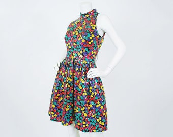 Morton Myles 1980's Vintage Colorful Sequin Mosaic Cotton Full Skirt Party Designer Dress
