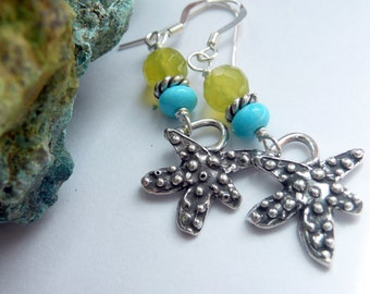 Handcrafted Artisan Sterling Silver Dotted Starfish Charm RARE Nacozari Turquoise Korean Lime Jade  OOAK Boho Hippie Beach Dangle Earrings