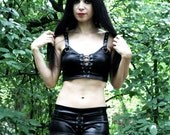 Hexenclub lace up crop top wet look tank witchy gothic clothing faux leather alternative apparel dark style black metal witch