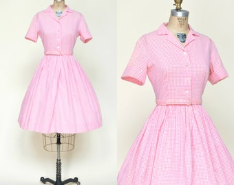 1950s Day Dress --- Pink Gingham Cotton Dress