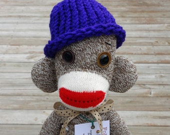 Sock Monkey Doll, Handmade in Rockford, IL - Original One of a Kind -  Rockford Red Heel Sock Monkey