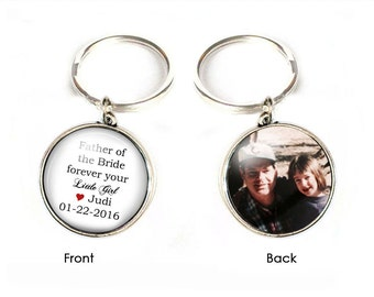 Father of the Bride Keychain, Mother of the Bride Keychain, Wedding Gift, Photo Key chain, Double Side Keychain, Two Side Picture Key Chain