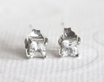 White Topaz Stud Earrings Sterling Silver with Genuine Topaz  4mm April Birthstone Earrings