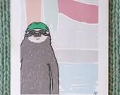 sloth art print: captain of the swim team