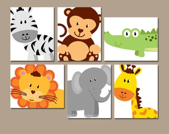 SAFARI ANIMALS Wall Art, JUNGLE Theme Nursery Decor, Zoo Animals, Baby Boy Nursery Artwork, Canvas or Prints, Playroom Wall Art, Set of 6
