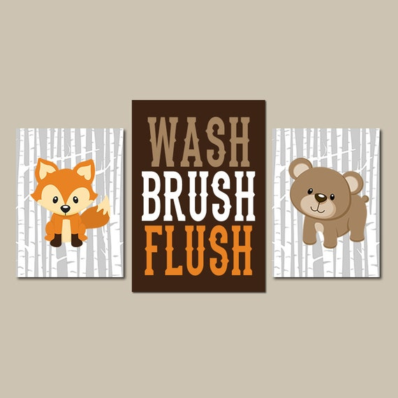 Woodland bathroom wall art animal child bath decor shared for Animal bathroom decor