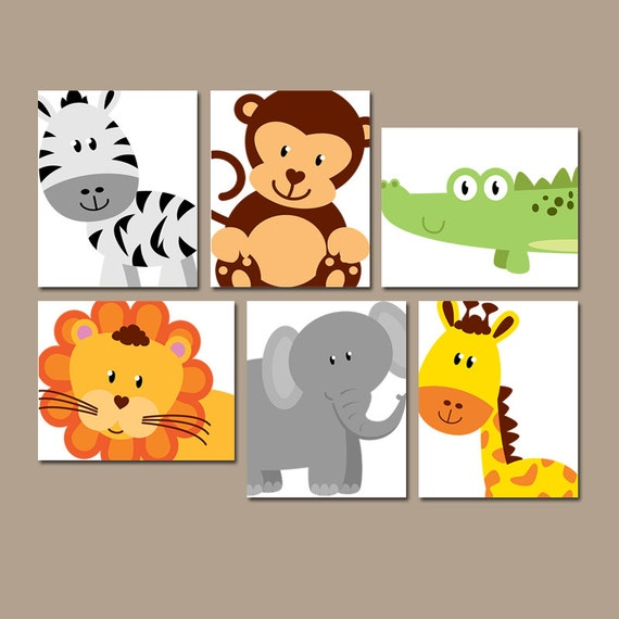 Safari Nursery Decor Jungle Theme Nursery Nursery Artwork: SAFARI ANIMALS Wall Art JUNGLE Theme Nursery Decor Zoo