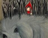 Little Red Riding Hood Print Dark Forest Whimsical Wolf Art