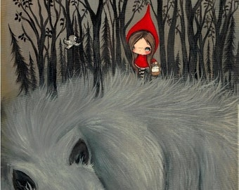Little Red Riding Hood Print Dark Forest Whimsical Wolf Art