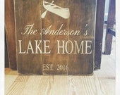 Rustic CUSTOM Lake House CABIN hand painted wood sign