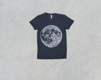 Women tshirt / t shirt for women - full moon print on tri-black - ladies top - for her / for women - moon shirt by Blackbird Tees