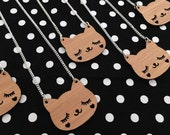 Happy Cat Necklace - Kitty Wood Charm Pendant on a Silver Chain