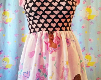 Barbie dress, African American pink heart womens clothing fairy kei sweet lolita size small S