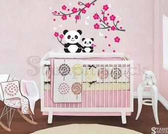 Panda Wall Decal for Baby Nursery - panda vinyl wall decor sticker cherry blossoms branch chinese new year spring bear baby boy girl - K011