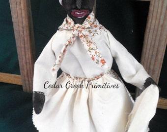 American Folk Art Black Woman with dust cloth