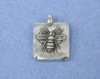 Honey Bee Pendant Silver Bee Charm Green Girl Charm Sweet Honey Square Frame Pewter Necklace or Bracelet Component |S1-5|1