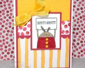 Handmade Easter Card - Easter Bunny Card - Hand Stamped Hippity Hoppity Easter Card in Yellow and Pink