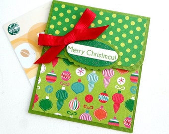 Merry Christmas Gift Card Holder - Christmas Cards - Holiday Gift Card Holders, Christmas Money Card, Christmas Tip Envelope