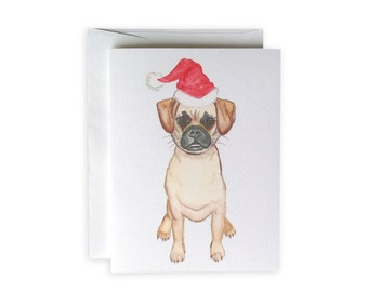 Christmas Puggle Greeting Card or Notecard Set