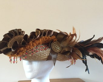 Autumn Pirate Hat  Straw pirate hat in browns and oranges - Ready to ship