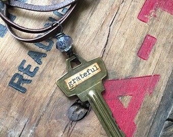 GRATEFUL - Vintage Key Necklace | Key Jewelry | Quote Necklace | Upcycled Key | Repurposed Vintage | Ready to Ship