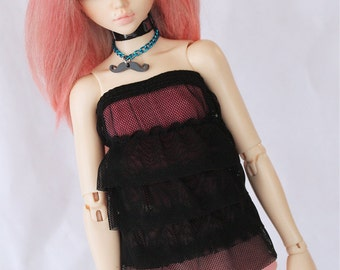 Minifee BJD clothes Black ruffle dress set MonstroDesigns Ready to ship MDm7348