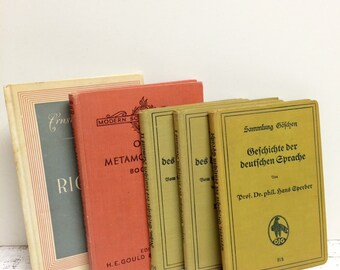 5 Old German Books, Book Set, Display Books, Home School, Small thin Books, Book Decor, School Teacher, SMALL Book, Book Display