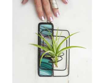 Wire Air Plant Holder- Abstract design with teal and mauve stained glass