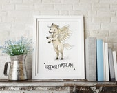 Quote Free to fly and Dream, Pegasus dreamland - Holli - Nursery Wall Art - Nursery Decor - Childrens Art - Kids Wall Art - Nursery Art