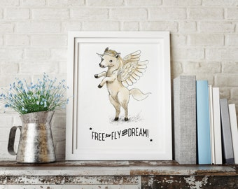 Quote Free to fly and Dream, Pegasus dreamland - Holli - Nursery Wall Art - Nursery Decor - Childrens Art - Kids Wall Art - Nursery Art
