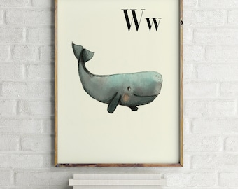 W for Whale - Alphabet art - Alphabet print - ABC wall art - ABC print - Nursery art - Nursery decor - Kids room decor - Children's art