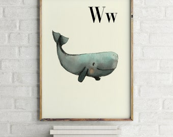 Whale print, nursery animal print, alphabet cards animals, alphabet letters, abc letters, alphabet print, animals prints for nursery