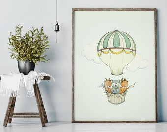 Woodland poster, Woodland nursery decor, Nursery decor wall art, Woodland nursery wall art, Woodland animal nursery, girl nursery decor