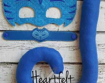 PJ Blue Bedtime Hero Mask, Tail and Bracelet Set * Blue Catboy * Party Favors, Birthdays, Playtime