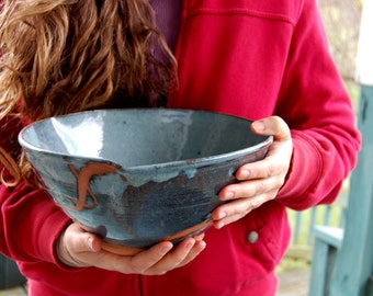 Large Serving Bowl in Slate Blue with Rust Chain - Made to Order