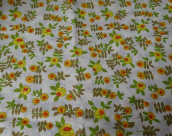 Vintage Floral Cotton Fabric 1970's Orange Flowers Summer Time Fresh Circa 1970s Quilt Fabric Sewing Fabric Curtain Fabric 1 Yard
