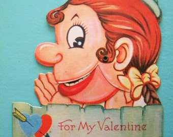 Vintage Mechanical Valentine's Day Card with Hinged Mouth