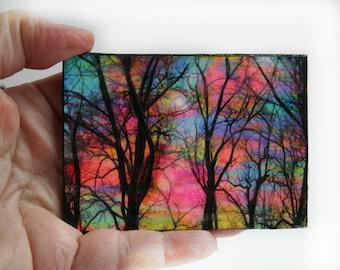 Cotton candy, sunrise, aceo original, miniature, mixed media photograph on a little hard board, trees, bare trees #art #aceo original