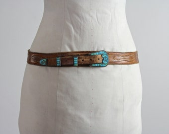 1940s Ranger Belt • Turquoise Belt • Turquoise Silver Ranger Belt • Tooled Leather Belt • 40s Native American Belt • Turquoise Inlay Belt