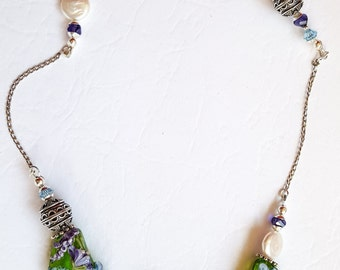 """Walking Through """"The Fairy's Garden"""" Hand-crafted Lampwork and Silver Necklace"""